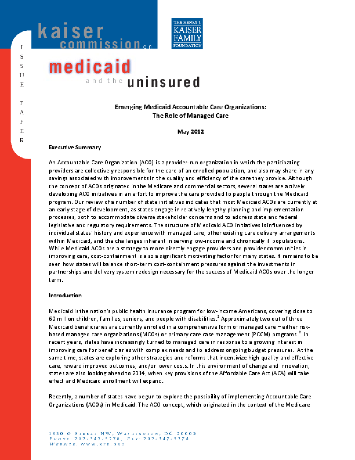 Emerging Medicaid Accountable Care Organizations: The Role of Managed Care
