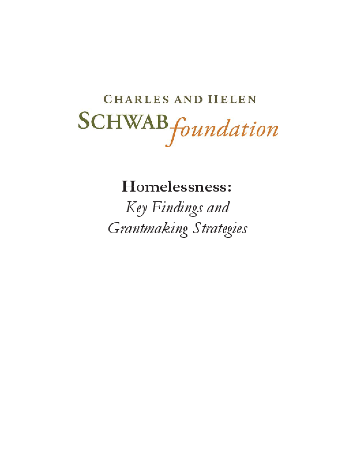 Homelessness: Key Findings and Grantmaking Strategies