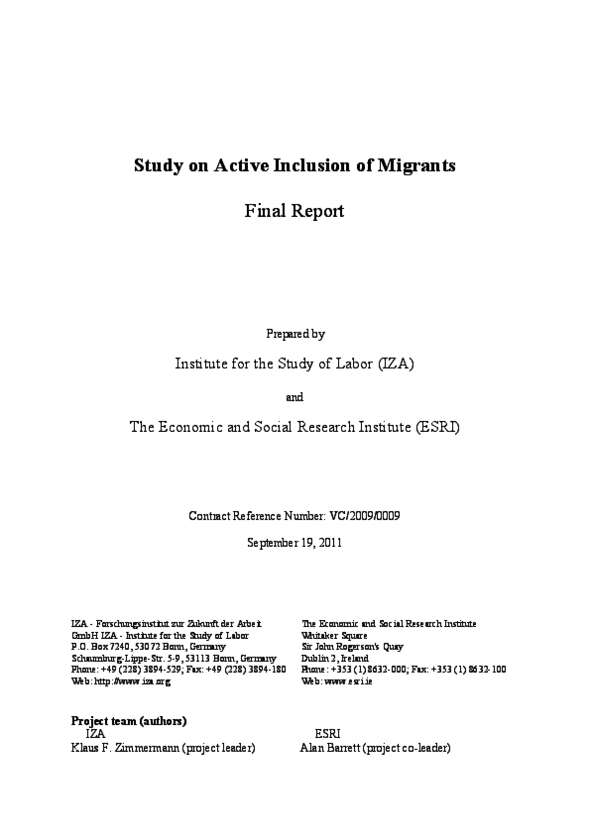 Study on Active Inclusion of Migrants