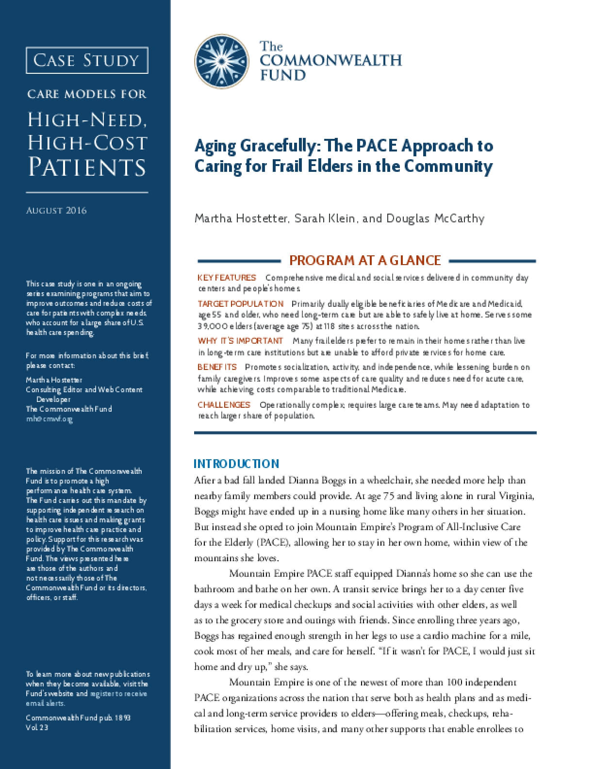 Aging Gracefully: The PACE Approach to Caring for Frail Elders in the Community