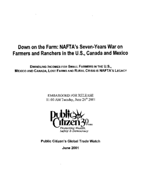 Down on the Farm: NAFTA's Seven-Years War on Farmers and Ranchers in the U.S., Canada and Mexico