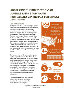 Addressing the Intersections of Juvenile Justice and Youth Homelessness: Principles for Change, A Brief Summary