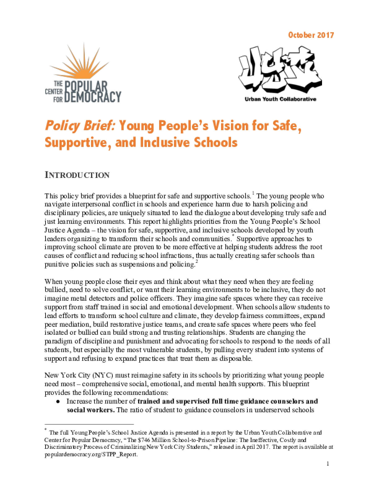 Young People's Vision for Safe, Supportive, and Inclusive Schools