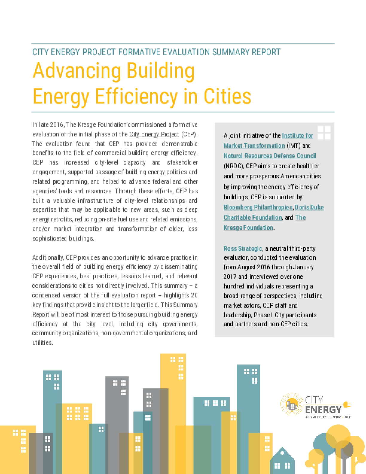 City Energy Project Formative Evaluation Summary Report:  Advancing Building Energy Efficiency in Cities