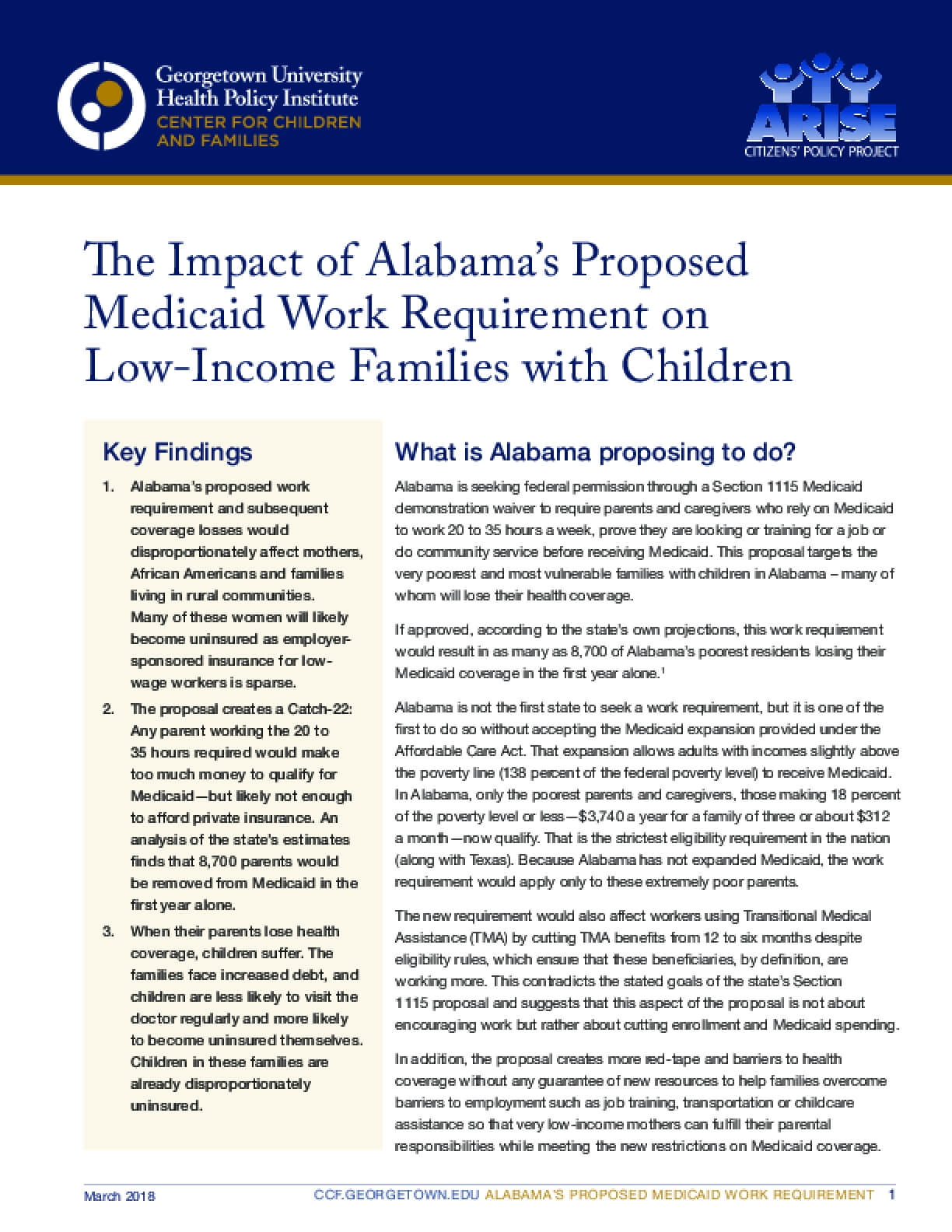 The Impact of Alabama's Proposed Medicaid Work Requirement on  Low-Income Families with Children