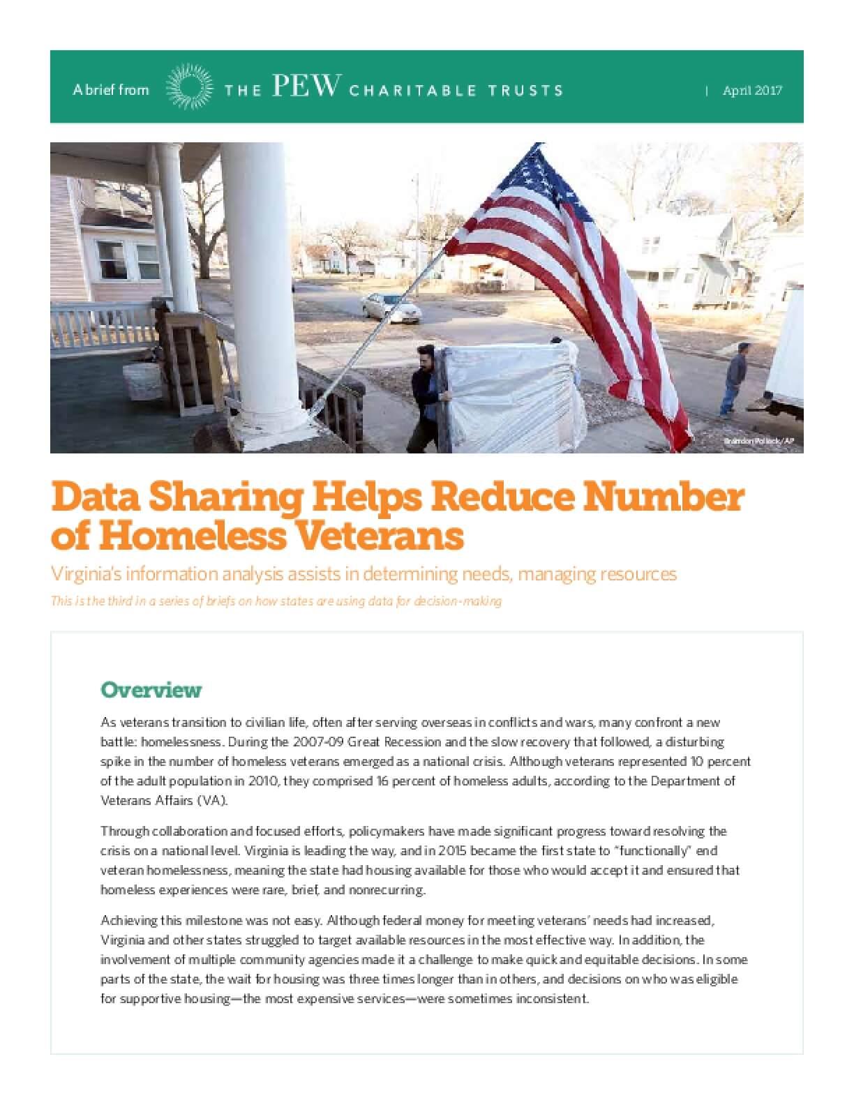 Data Sharing Helps Reduce Number of Homeless Veterans