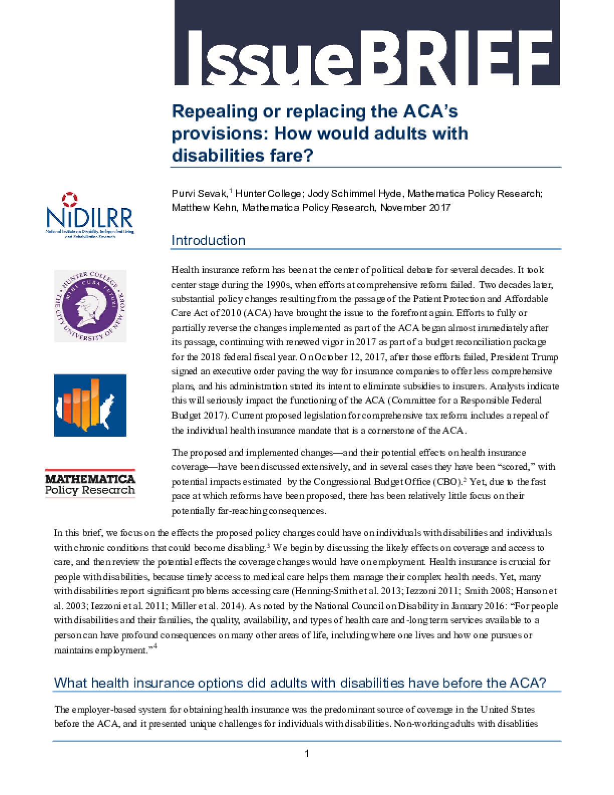 Repealing or Replacing the ACA's Provisions: How Would Adults with Disabilities Fare?