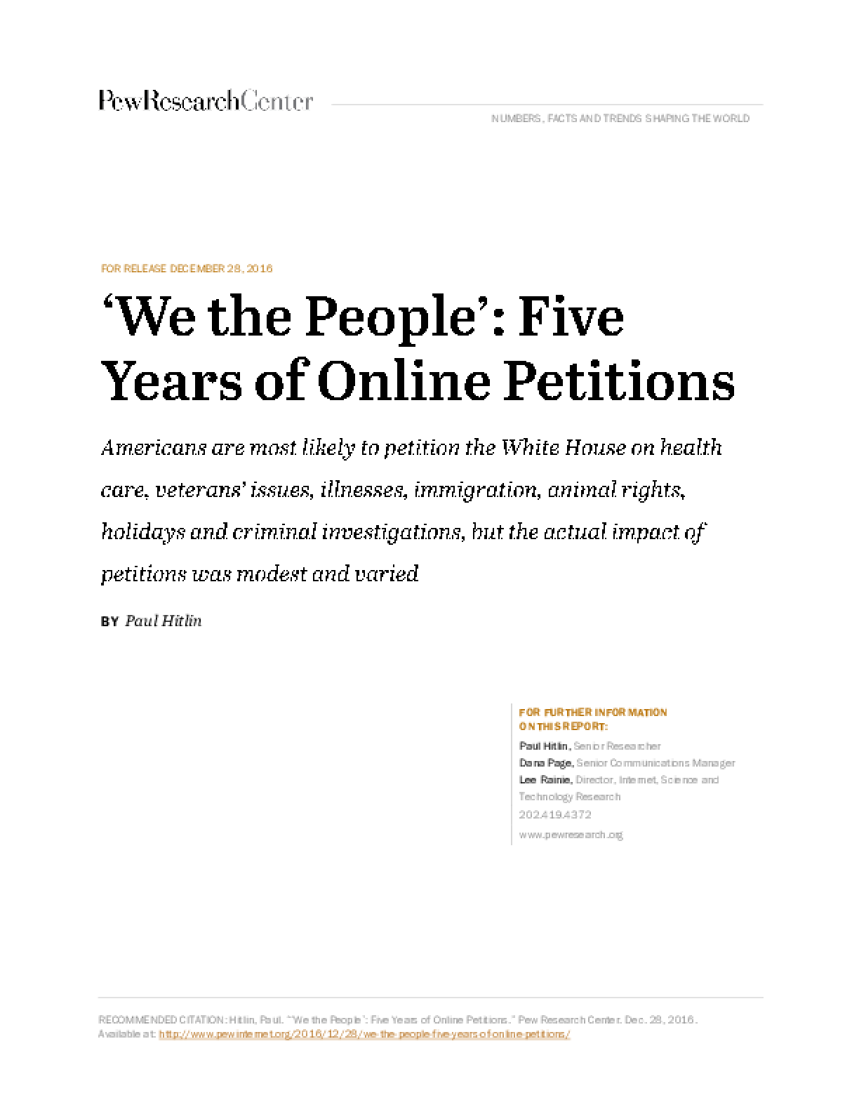 We the People': Five Years of Online Petitions