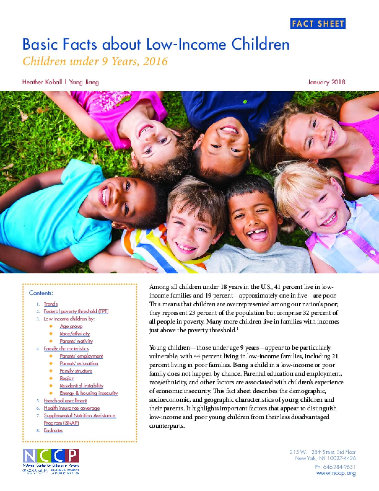 Basic Facts about Low-Income Children Children under 9 Years, 2016