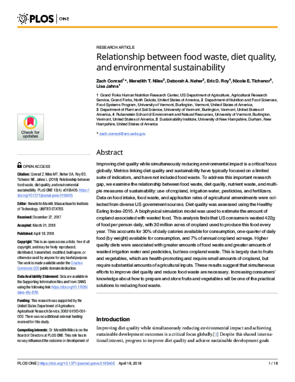 Relationship Between Food Waste, Diet Quality, and Environmental Sustainability