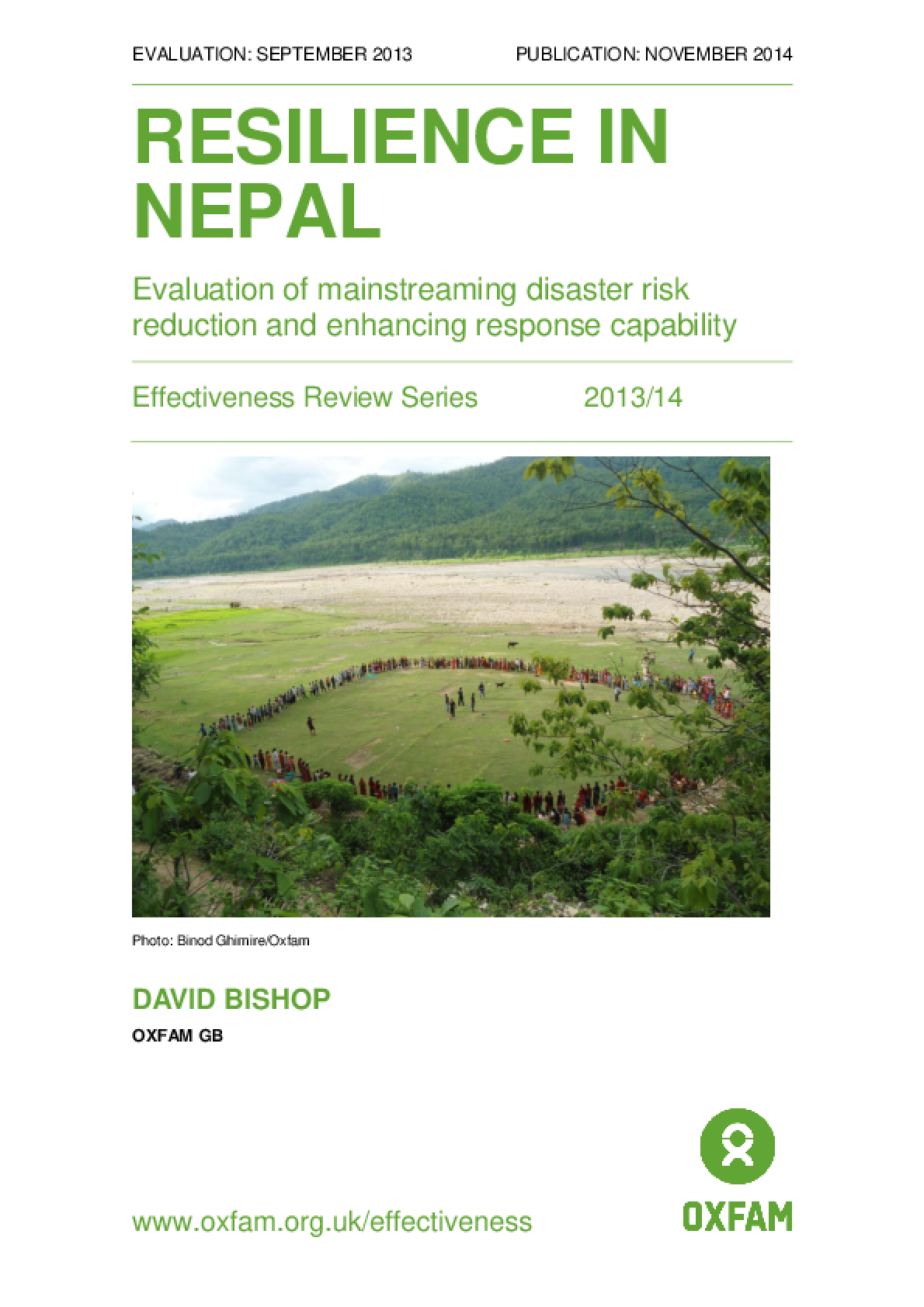 Resilience in Nepal: Evaluation of mainstreaming disaster risk reduction and enhancing response capability