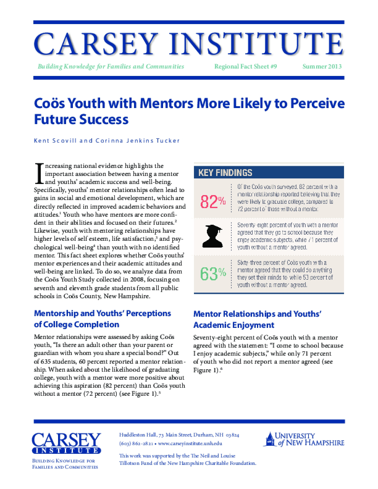 Coös Youth with Mentors More Likely to Perceive Future Success