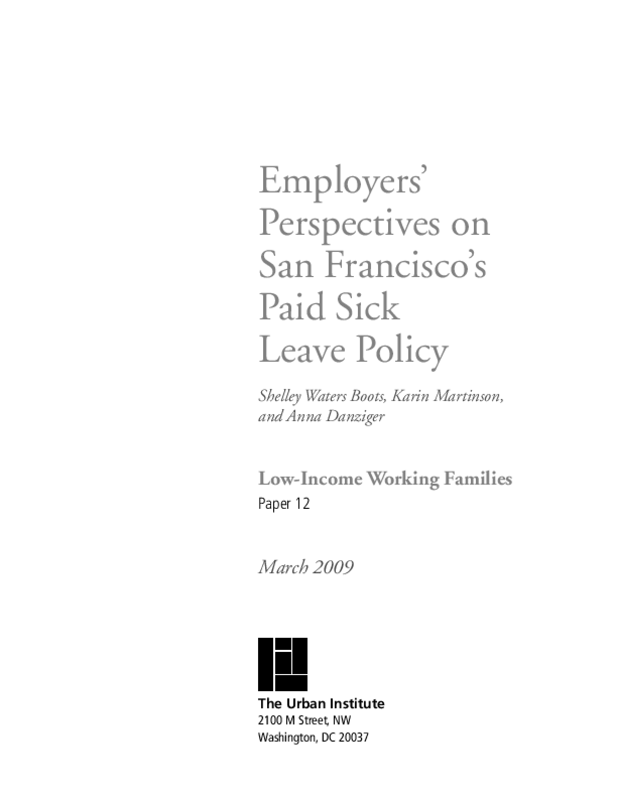 Employers' Perspectives on San Francisco's Paid Sick Leave Policy