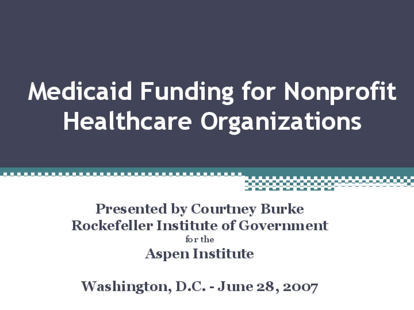 Medicaid Funding for Nonprofit Healthcare Organizations