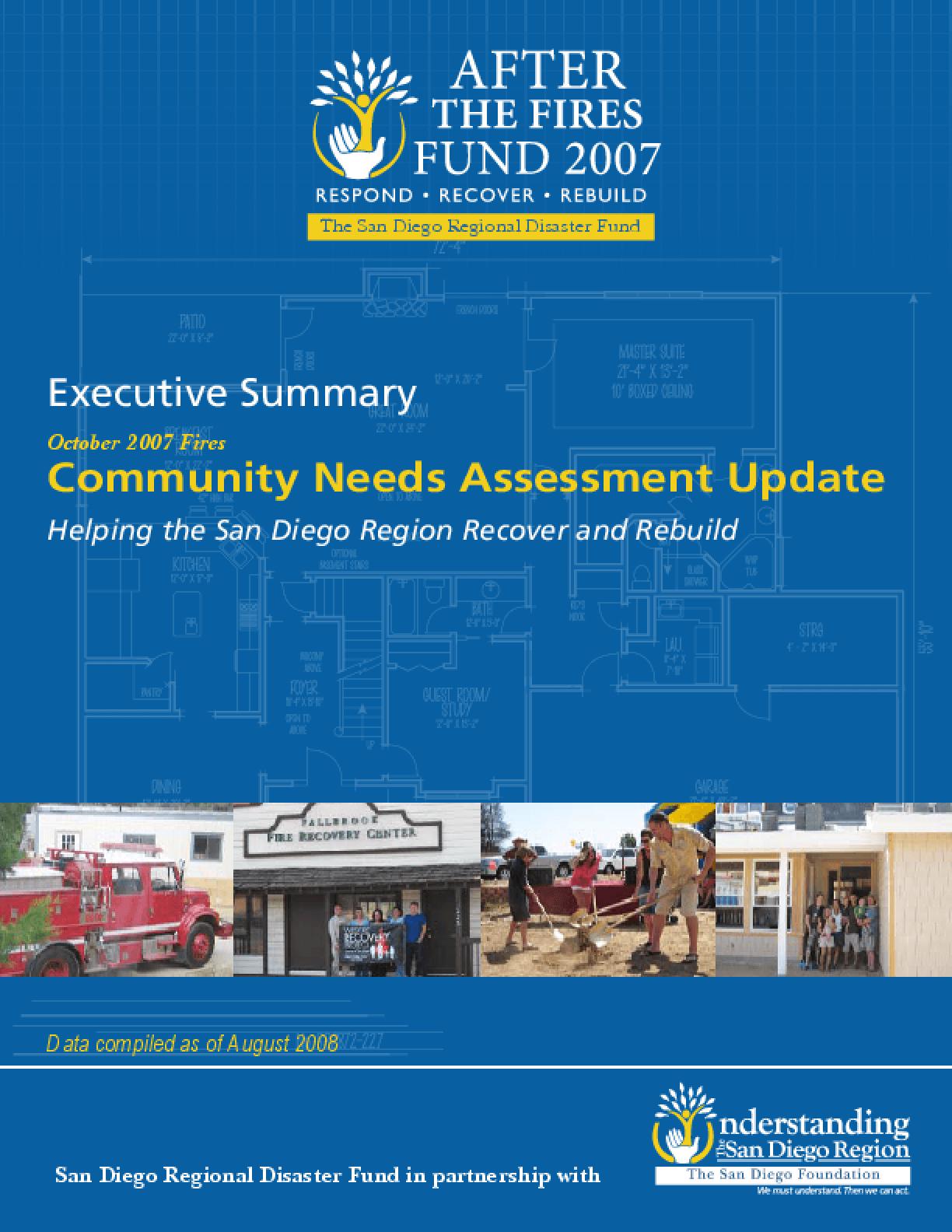 October 2007 Fires Community Needs Assessment Update