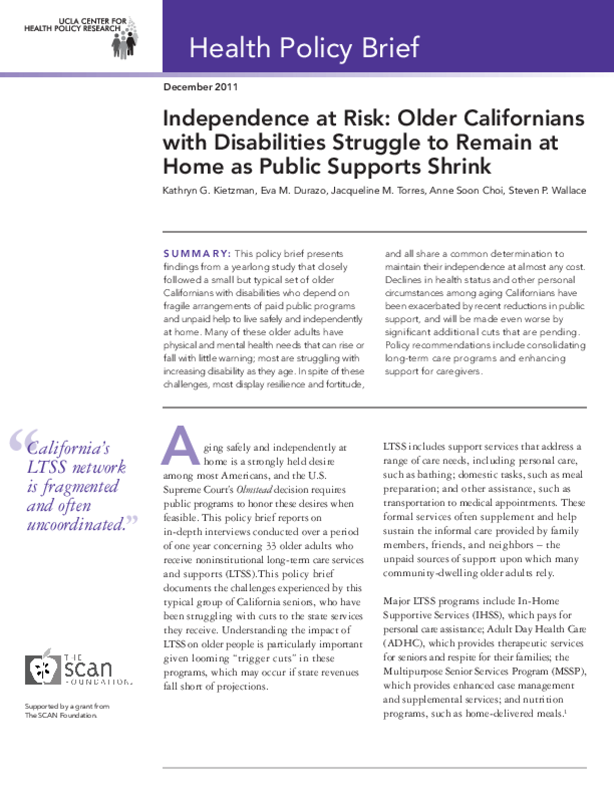 Independence at Risk: Older Californians With Disabilities Struggle to Remain at Home as Public Supports Shrink