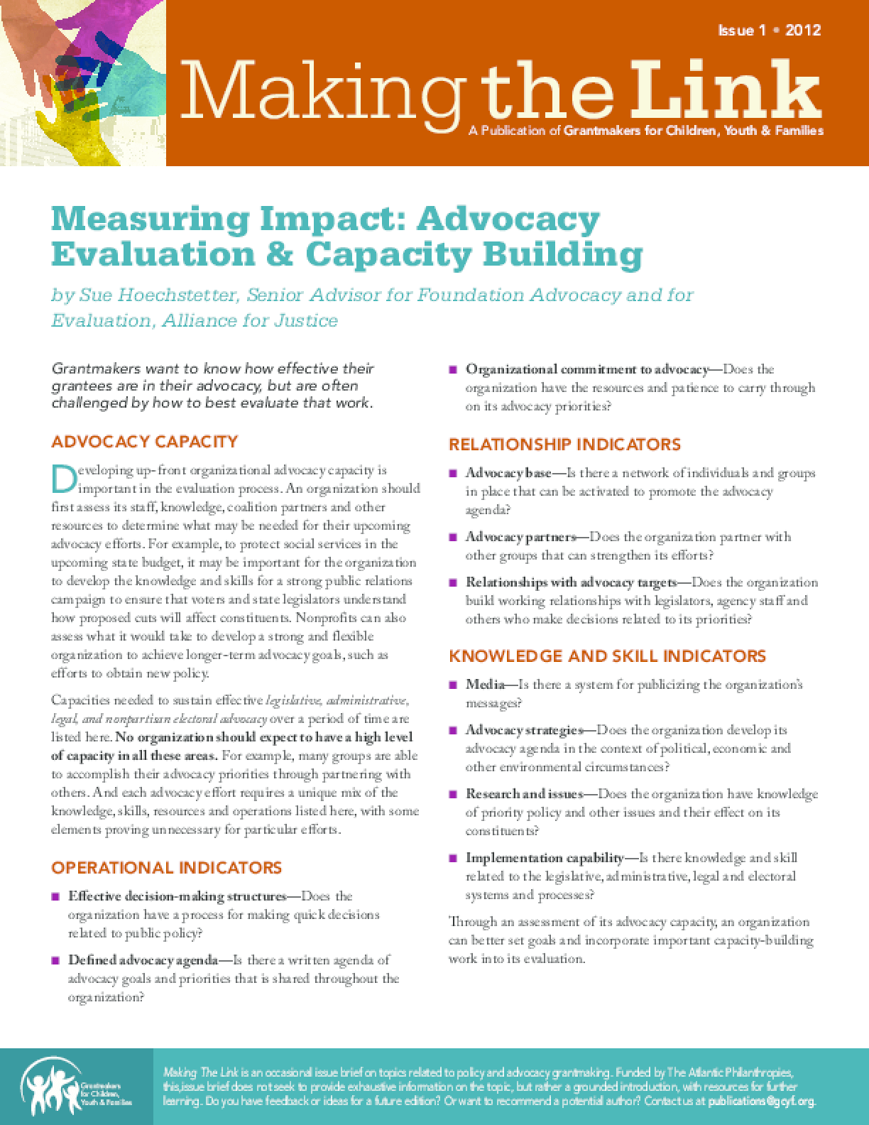 Measuring Impact: Advocacy Evaluation & Capacity Building
