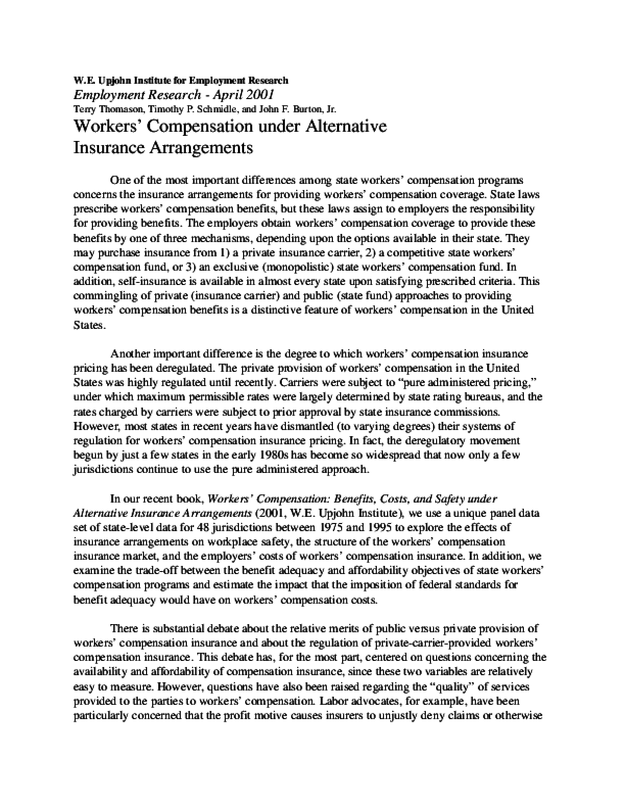 Workers' Compensation Under Alternative Insurance Arrangements
