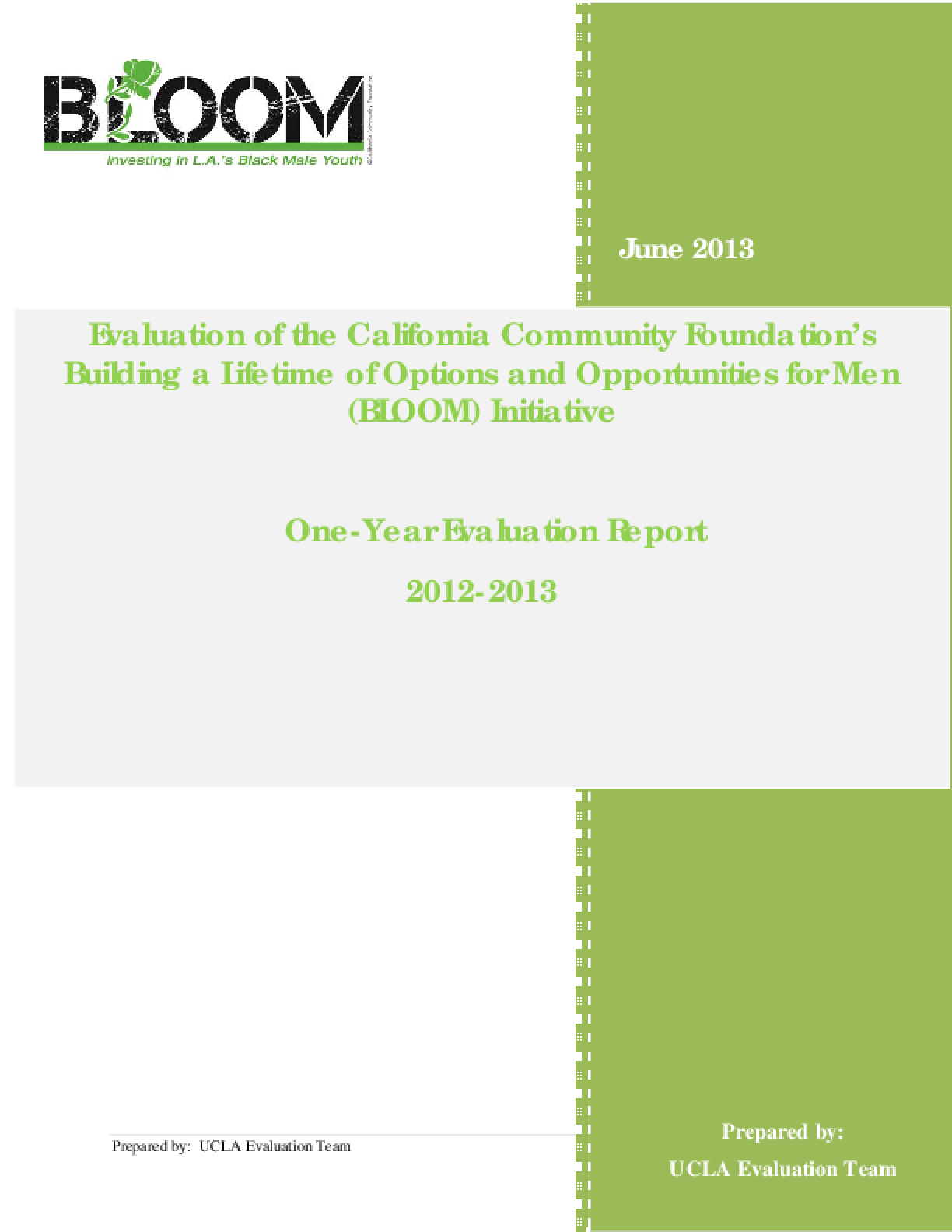 Evaluation of the California Community Foundation's Building a Lifetime of Options and Opportunities for Men (BLOOM) Initiative: One-Year Evaluation Report, 2012-2013