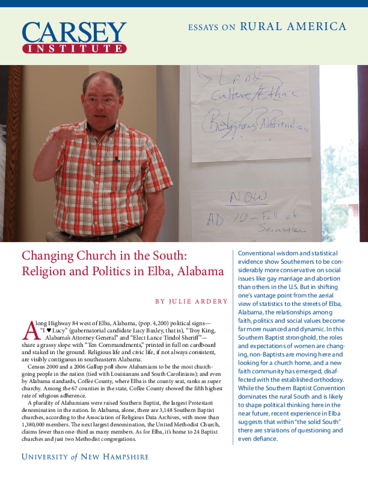 Changing Church in the South: Religion and Politics in Elba, Alabama