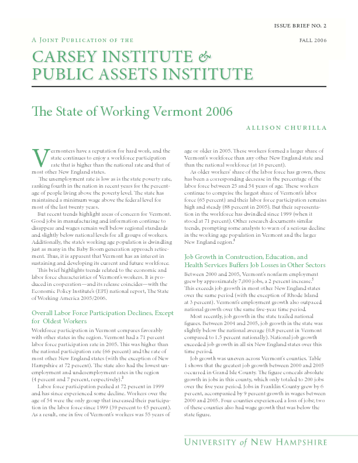 The State of Working Vermont 2006