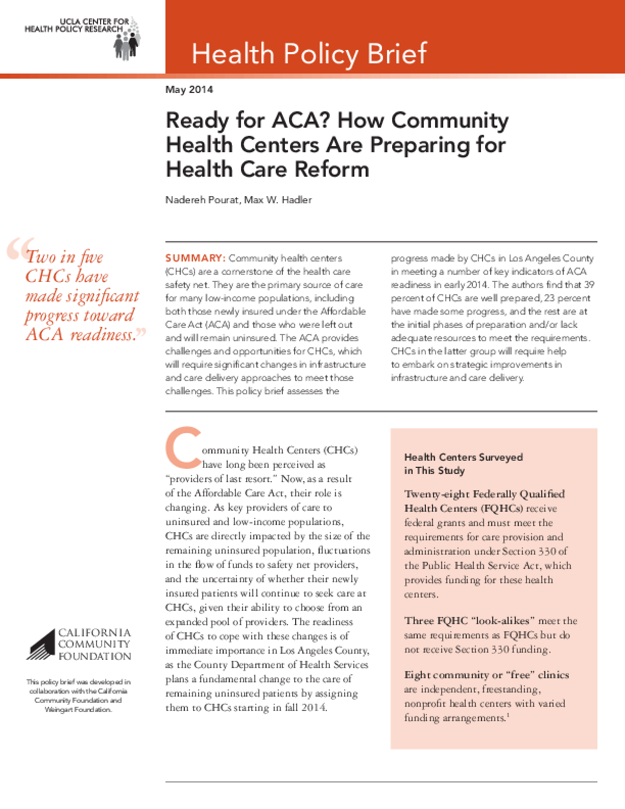 Ready for ACA? How Community Health Centers Are Preparing for Health Care Reform
