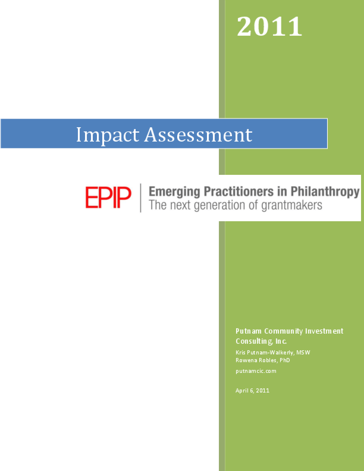 Impact Assessment: Emerging Practitioners in Philanthropy