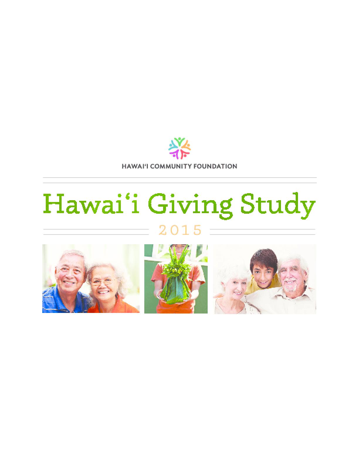 The Hawai'i Giving Study 2015
