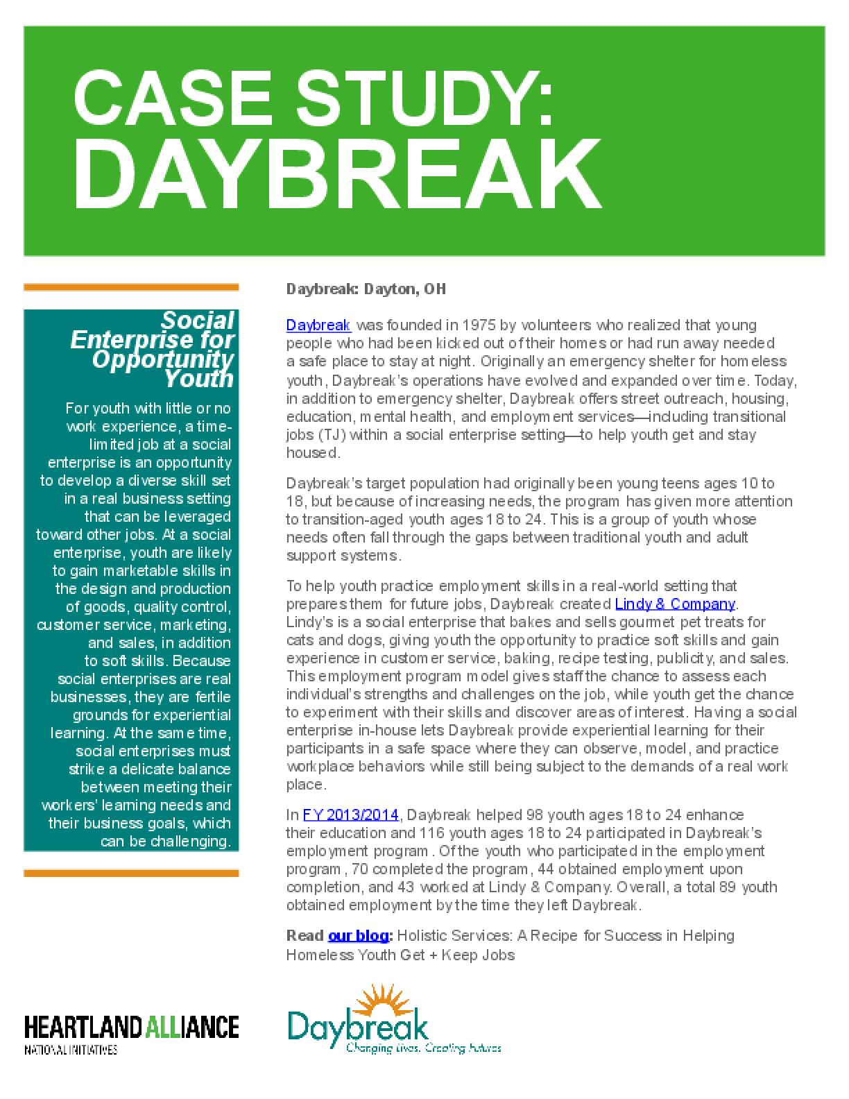 Opportunity Youth Employment Program Case Study: Daybreak