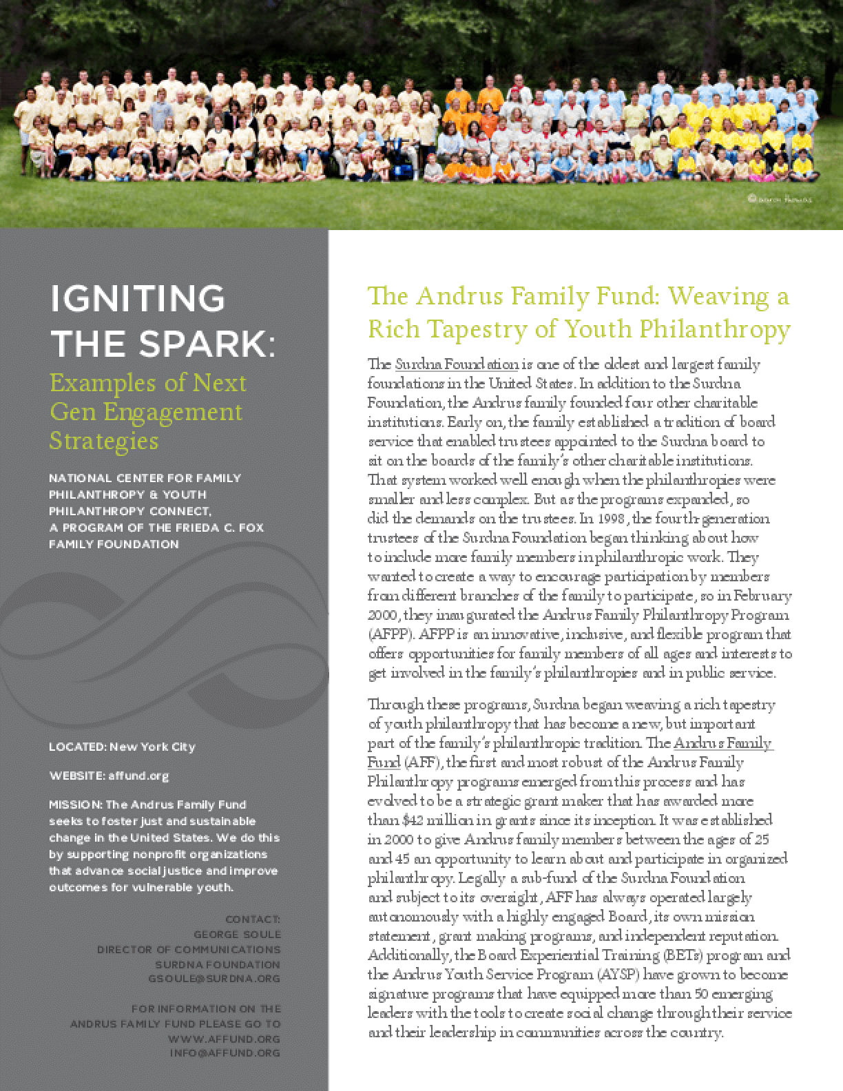 Igniting the Spark: Examples of Next Gen Engagement Strategies, the Andrus Family Fund