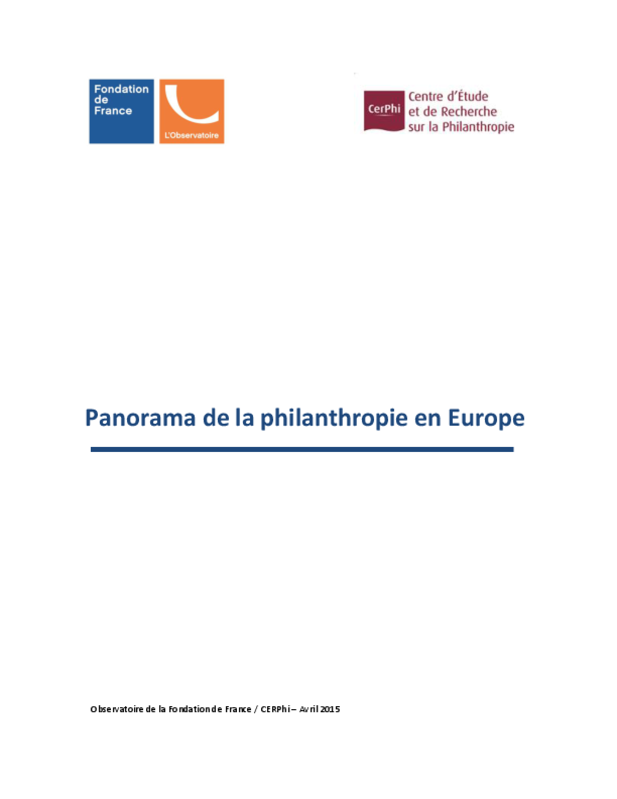 Panorama de la Philanthropie en Europe