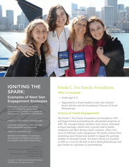 Igniting the Spark: Examples of Next Gen Engagement Strategies, Frieda C. Fox Family Foundation