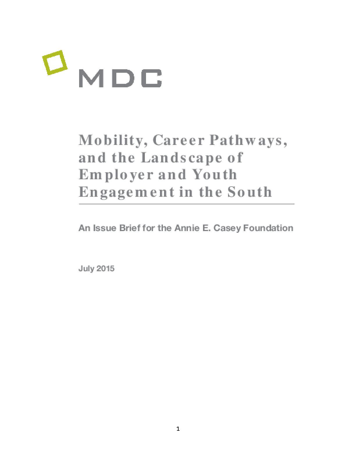 Mobility, Career Pathways, and the Landscape of Employer and Youth Engagement in the South