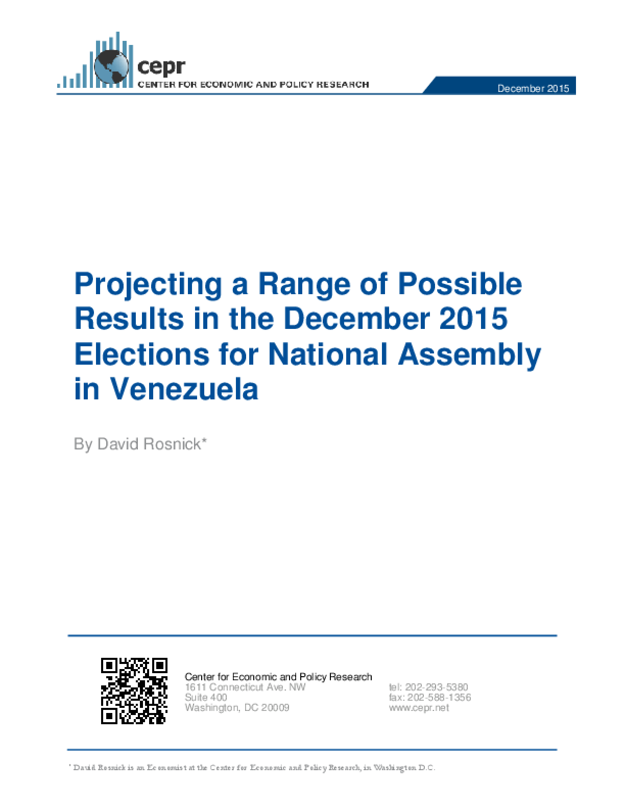 Projecting a Range of Possible Results in the December 2015 Elections for National Assembly in Venezuela