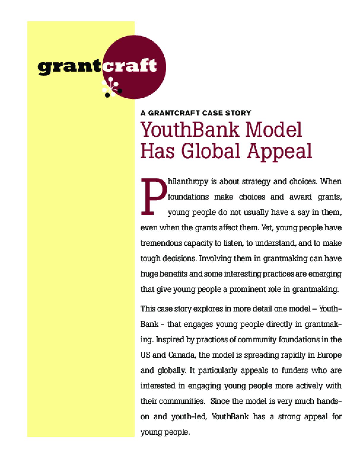 YouthBank Model Has Global Appeal