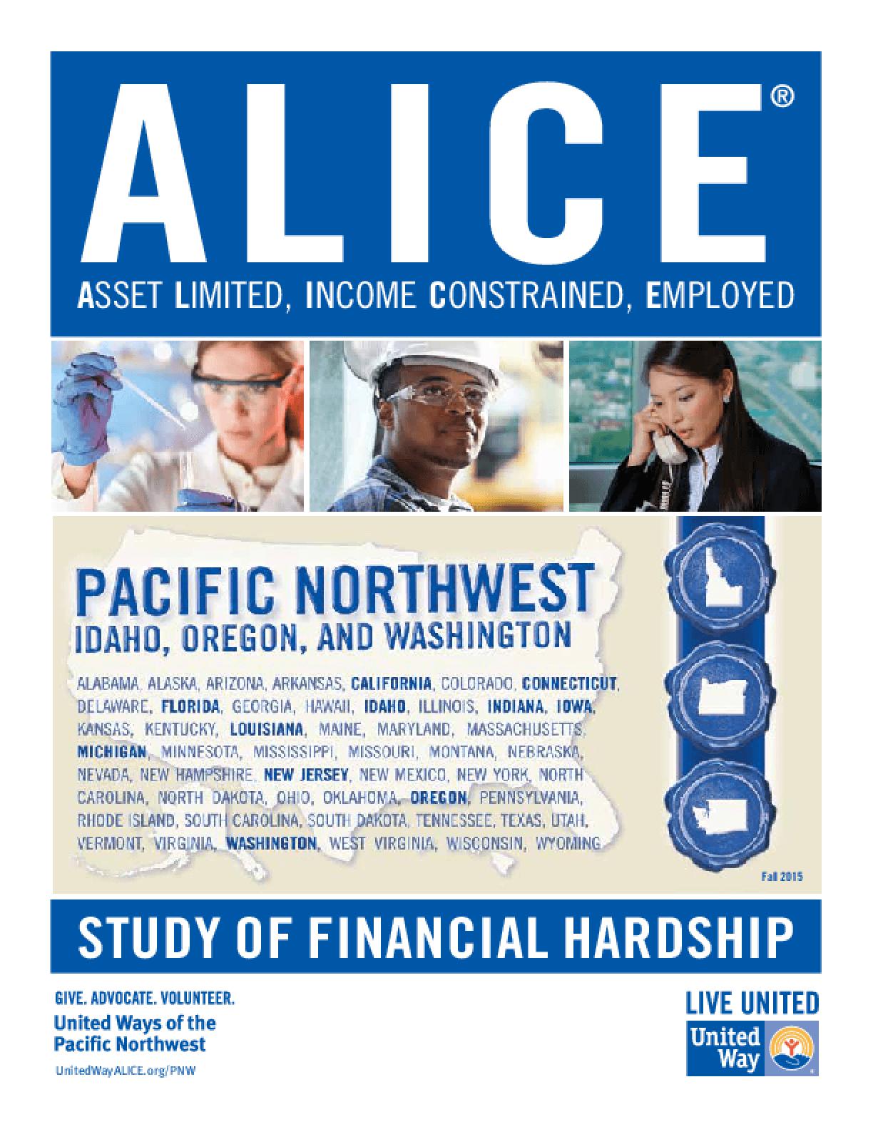 ALICE: Study of Financial Hardship-Pacific Northwest: Idaho, Oregon and Washington