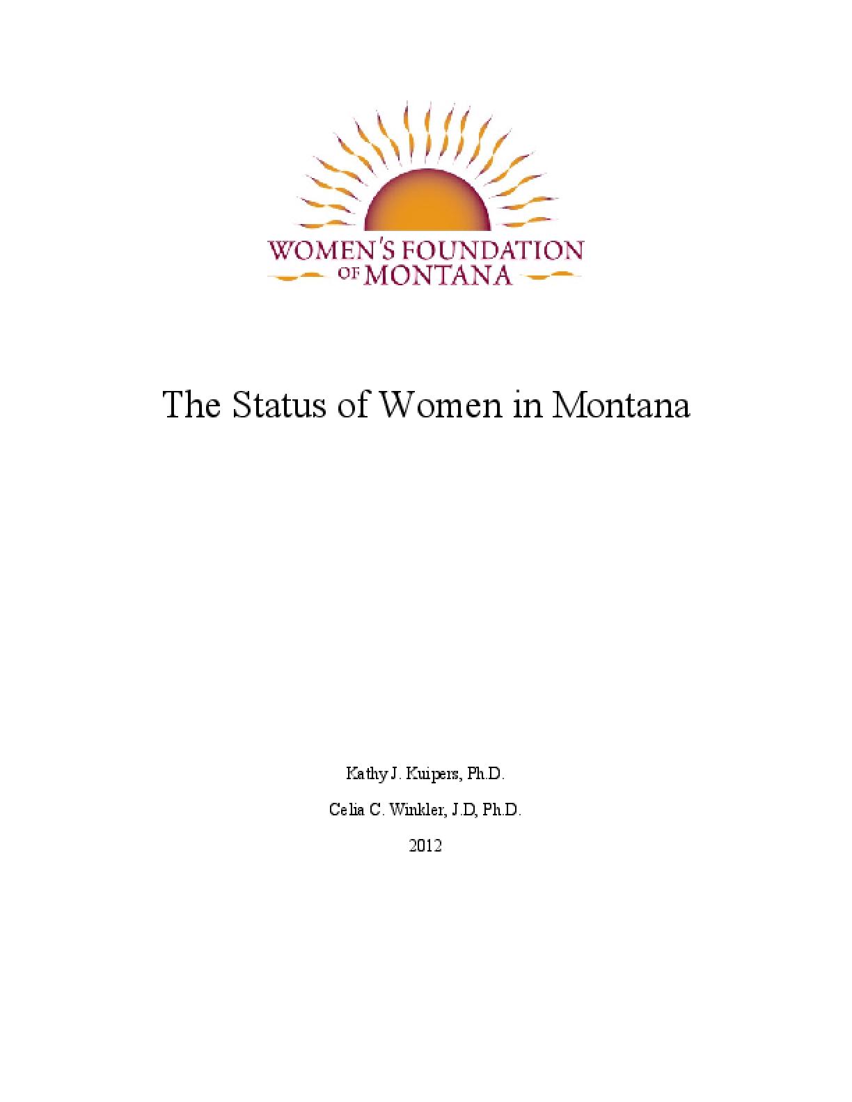 Status of Women in Montana Report 2012