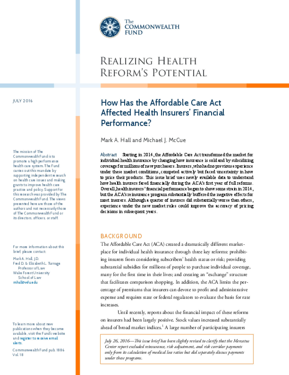 How Has the Affordable Care Act Affected Health Insurers' Financial Performance?
