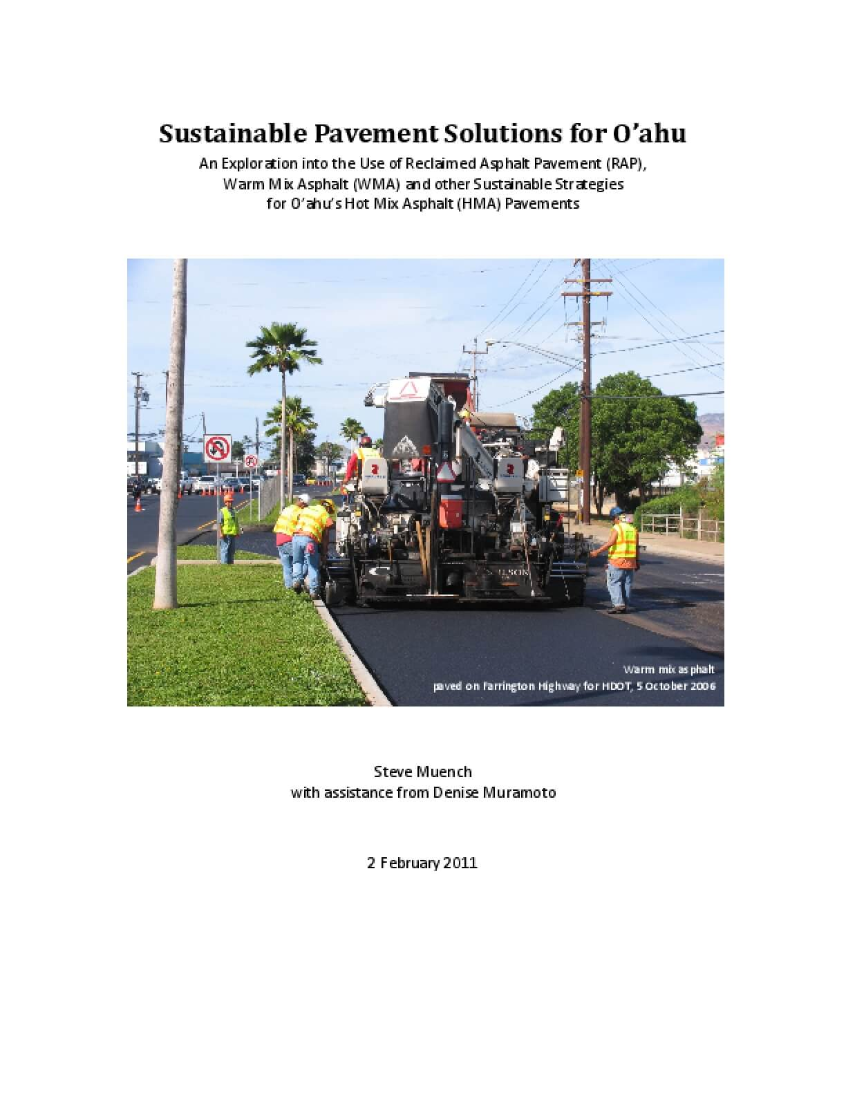 Sustainable Pavement Solutions for Oahu