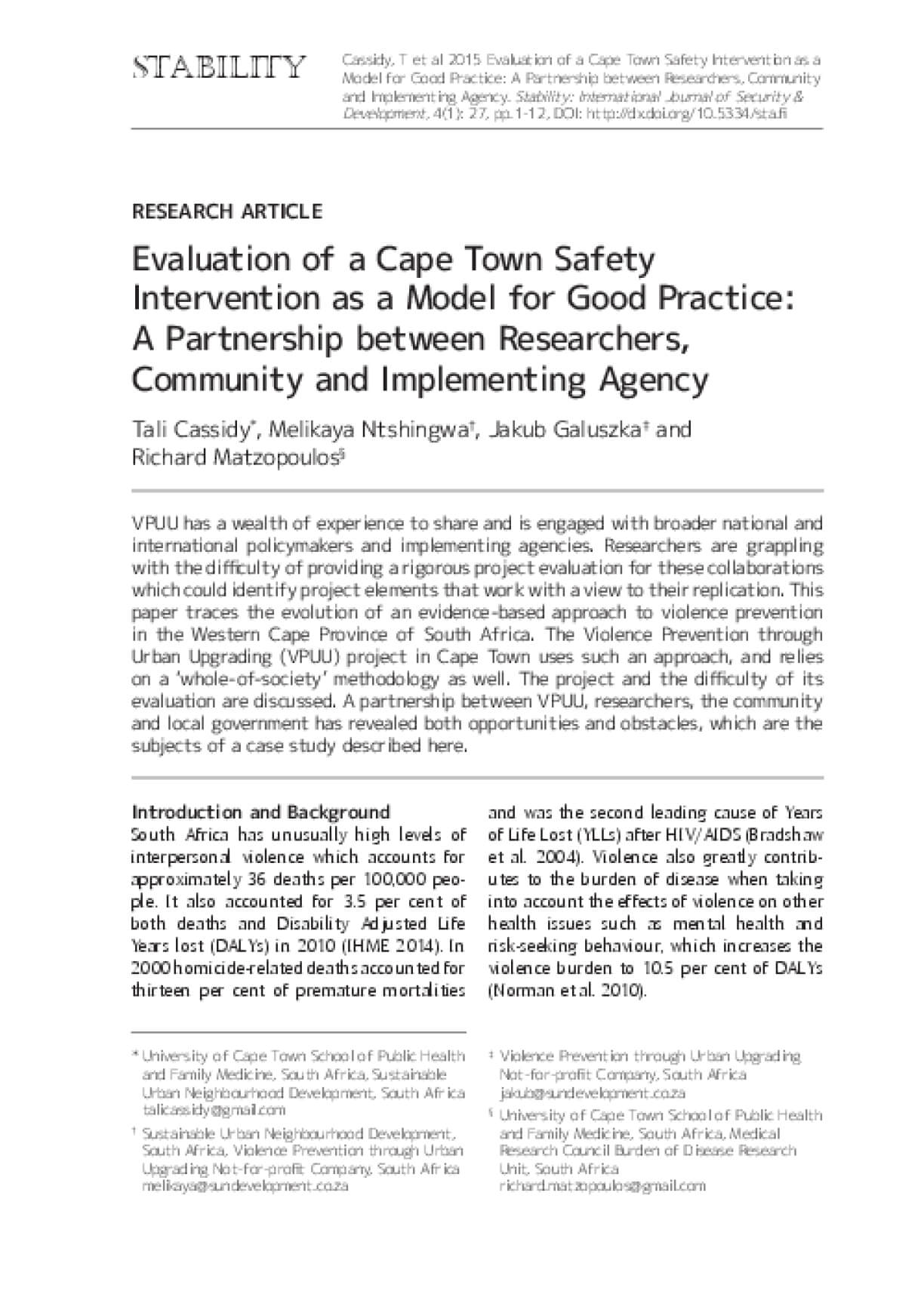 Evaluation of a Cape Town Safety Intervention as a Model for Good Practice: A Partnership between Researchers, Community and Implementing Agency