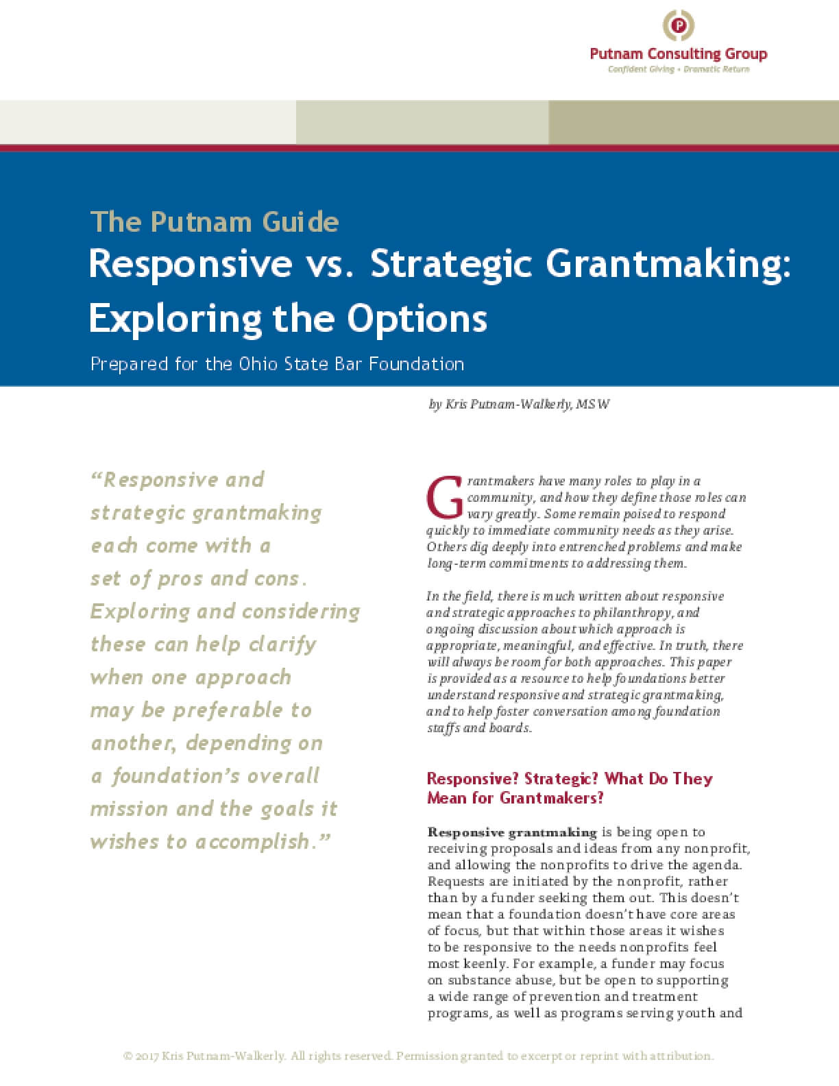 Responsive vs. Strategic Grantmaking: Exploring the Options