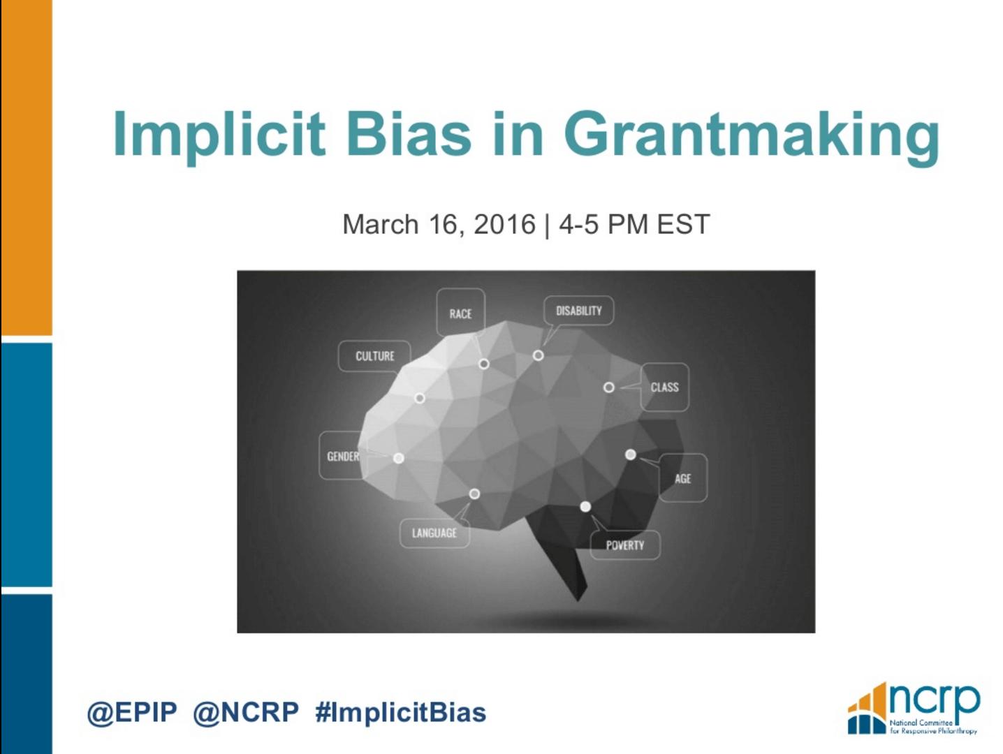 Implicit Bias in Grantmaking, EPIP Webinar