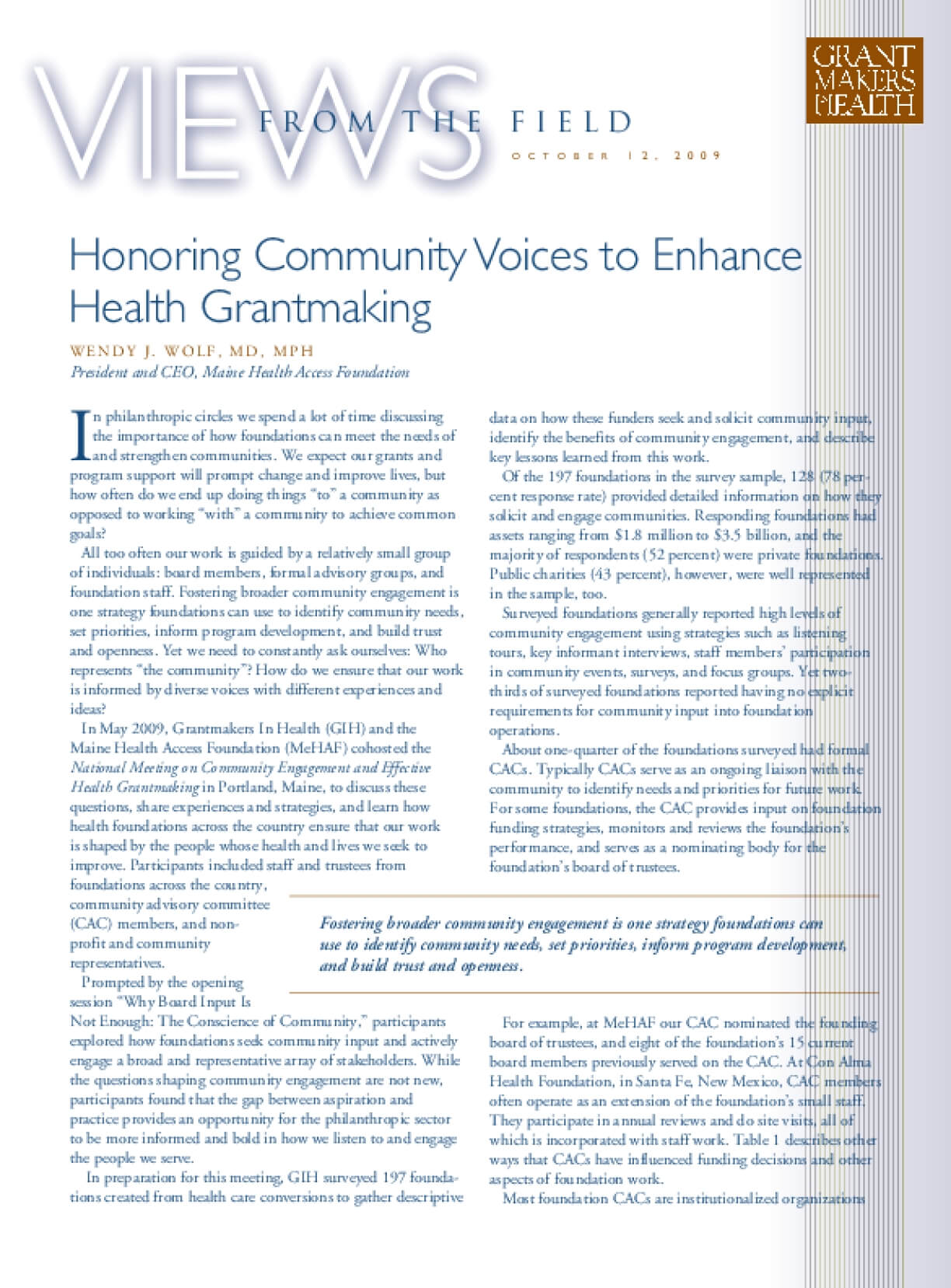 Honoring Community Voices to Enhance Health Grantmaking