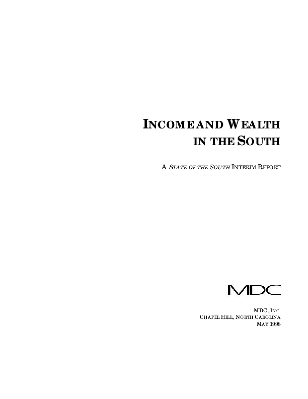 Income and Wealth in the South: A State of the South Interim Report