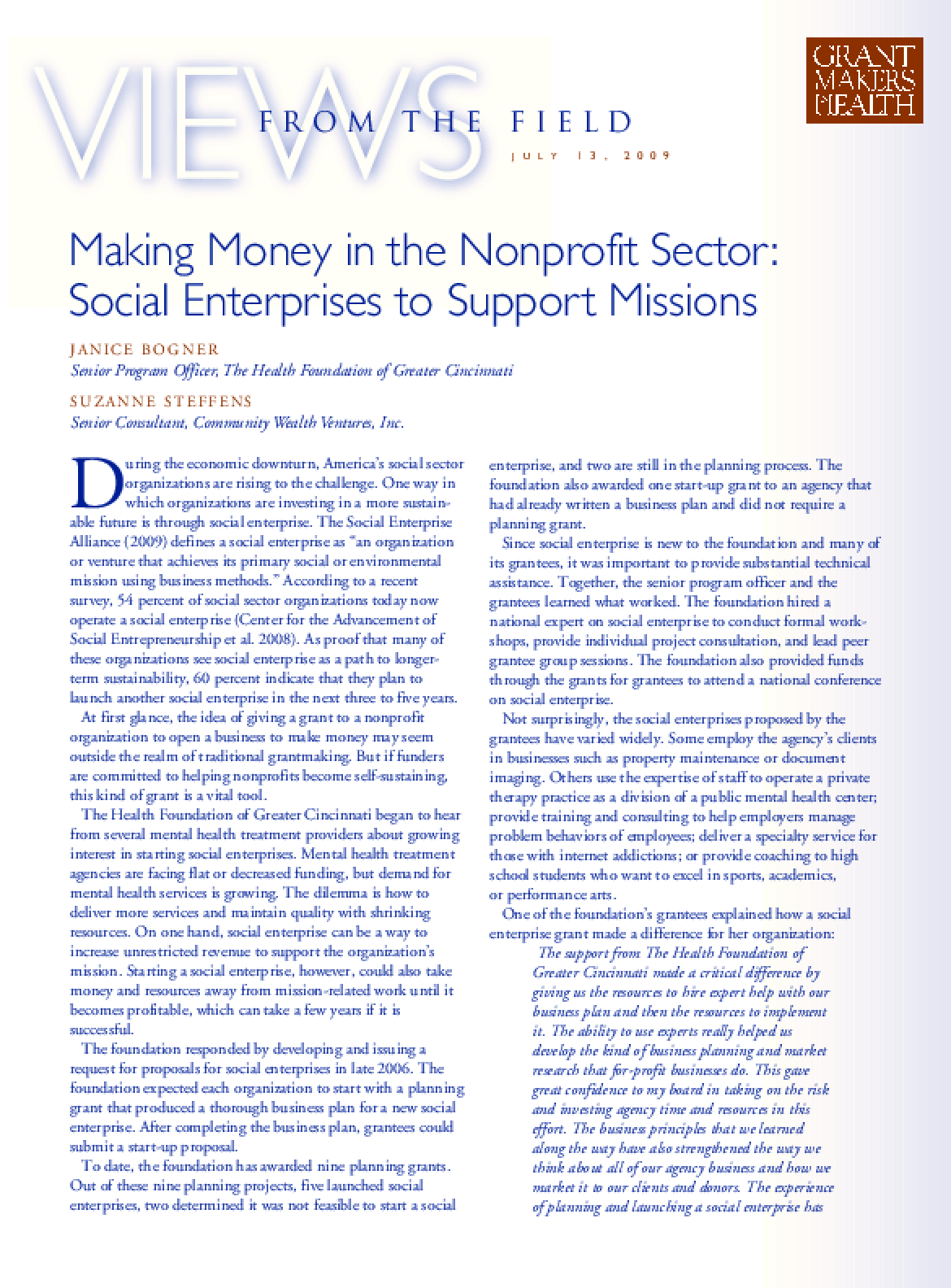 Making Money in the Nonprofit Sector: Social Enterprises to Support Missions