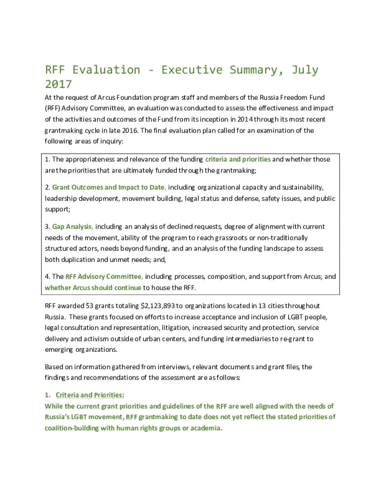 Russia Freedom Fund Evaluation (2017)