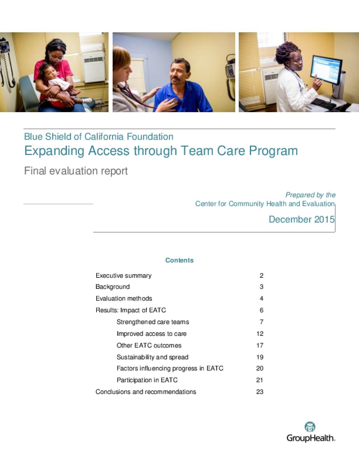 Expanding Access through Team Care: Program Final Evaluation Report
