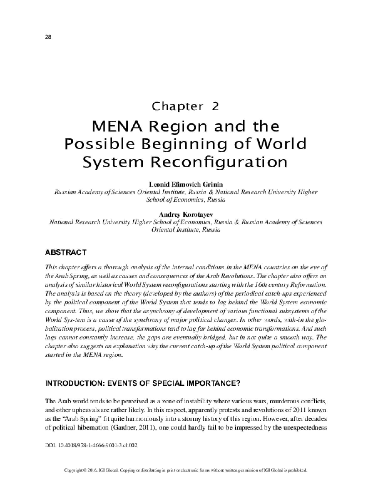 MENA Region and the Possible Beginning of World System Reconfiguration