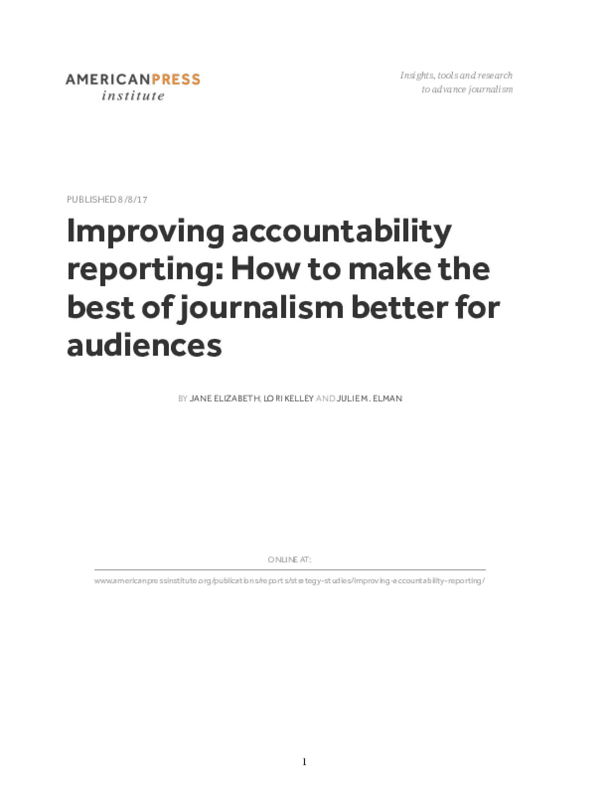 Improving accountability reporting: How to make the best of journalism better for audiences