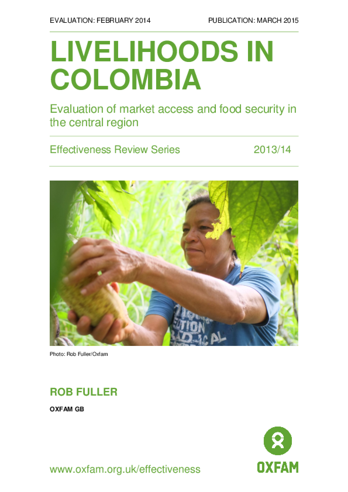 Livelihoods in Colombia: Evaluation of market access and food security in the central region
